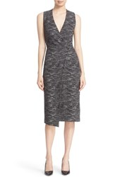 Alice Olivia Women's 'Carissa' Sleeveless Faux Wrap Sheath Dress Black White
