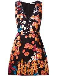 Alice Olivia Floral Mini Dress Black