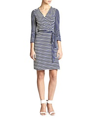 Diane Von Furstenberg New Julian Nautical Stripe Wrap Dress Midnight White