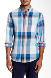 Ben Sherman Long Sleeve Regular Fit Summer Madras Shirt Blue