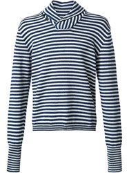 Rrl Striped Shawl Neck Sweater Blue