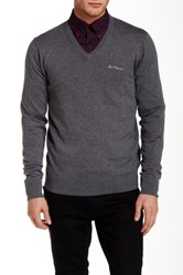 Ben Sherman V Neck Knit Pullover Gray