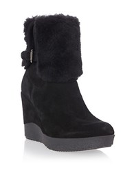 Dune Pluff Suede And Faux Fur Ankle Boots Black