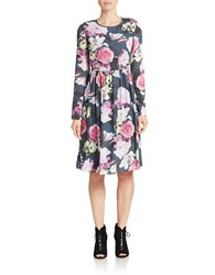 424 Fifth Nocturnal Floral Print Dress Violet Bloom