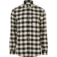River Island Menscream Check Muscle Fit Shirt