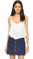 Rachel Pally Rib Ruffle Top White