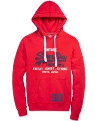 Superdry Men's Graphic Print Hoodie Indiana Red