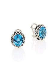 Effy Blue Topaz Sterling Silver And 18K Yellow Gold Earrings Silver Blue