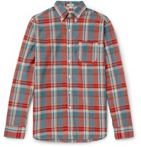 J.Crew Madras Checked Cotton Shirt Red