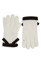 Kate Spade Women's New York Contrast Bow Tech Friendly Gloves Cream Black