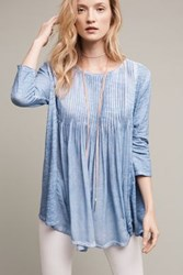 Anthropologie Brisa Pleated Tunic Top Sky