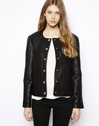 Mango Quilted Leather Look Jacket Black