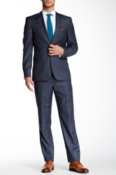 Vince Camuto Blue Plaid Two Button Notch Lapel Wool Suit