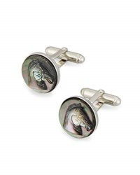 David Donahue Mother Of Pearl Horse Cuff Links Black Silver