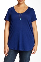 14Th And Union V Neck Short Sleeve Tee Plus Size Blue
