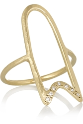 Scosha Hollow Ribbon 10 Karat Gold Diamond Ring