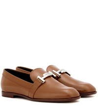 Tod's Double T Leather Loafers Brown