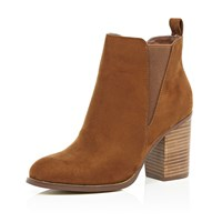 River Island Womens Tan Heeled Chelsea Ankle Boots