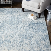 Vines Wool Rug 5'X8' Blue Lagoon
