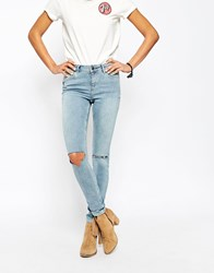Asos Lisbon Skinny Midrise Jeans In Petal Bleach Out Wash With Busted Knees Blue