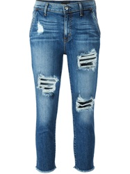 Koral Cropped Distressed Jeans Blue