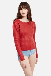 Y Project Paneled Stripe Top Red