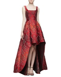 Alberta Ferretti Sleeveless Square Neck High Low Jacquard Gown Fantasy Red Fantasy Print Red