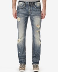 Buffalo David Bitton Men's Six X Distressed Slim Straight Fit Stretch Jeans Dirty And Veined