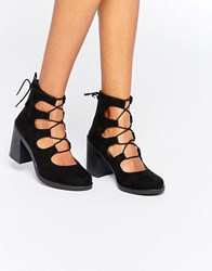 Asos Tangerine Lace Up Sandals Black