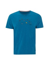 White Stuff Birds On Lines Graphic Tee Turquoise