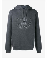 Dolce And Gabbana Crown Embroidered Cotton Blend Hoodie Grey Black White