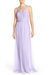 Women's Nouvelle Amsale 'Aisha' Tulle Twisted V Neck Gown Lilac