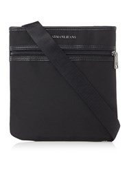 Armani Jeans Pu Front Zip Small Cross Body Black