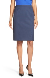 Boss 'Vilea' Glen Plaid Pencil Skirt Navy Fantasy
