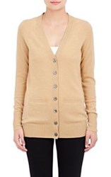 Barneys New York Cashmere V Neck Cardigan Nude