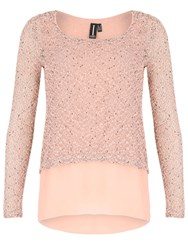 Izabel London Layered Open Back Top Pink