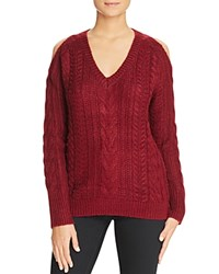 John Jenn Cold Shoulder Cable Knit Sweater 100 Bloomingdale's Exclusive Burgundy