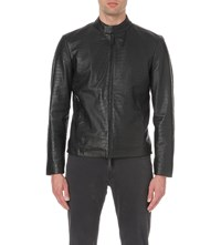Armani Collezioni Crocodile Embossed Leather Jacket Black