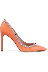 Valentino Rockstud Patent Leather Pumps Orange