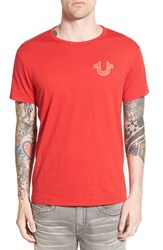 Men's True Religion Brand Jeans 'Double Puff' Graphic Crewneck T Shirt Red
