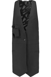 Chalayan Wool Crepe And Crocheted Cotton Vest Black
