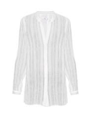 Vince Striped V Neck Cotton Shirt White Stripe