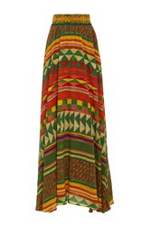 Stella Jean Desiderare Geometric Skirt Red Green Yellow
