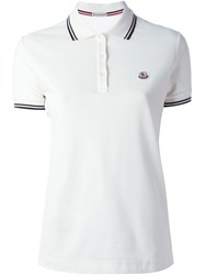 Moncler Piped Collar Polo Shirt Nude And Neutrals