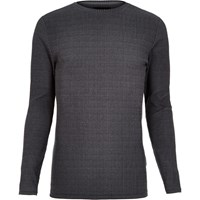 River Island Mens Grey Ribbed Muscle Fit Long Sleeve T Shirt
