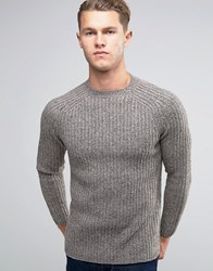 New Look Crew Neck Ribbed Knit Jumper In Grey Grey
