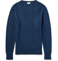 Club Monaco Cable Knit Indigo Dyed Cotton Sweater Indigo