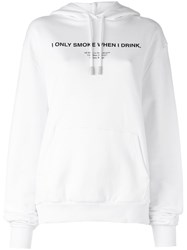 Off White Printed Hoodie White