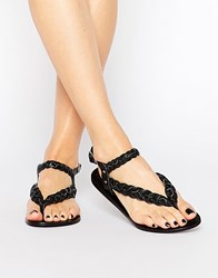 Park Lane Plaited Leather Flat Sandals Black