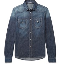 Tomas Maier Slim Fit Washed Denim Western Shirt Blue